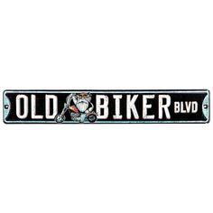 Old Biker Boulevard Embossed Tin Sign⎜Open Road Brands