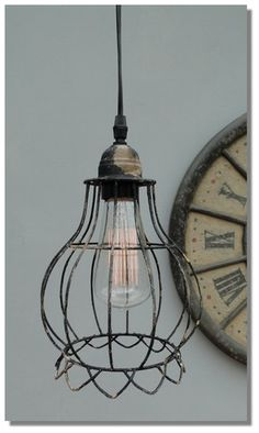 Round Cage Wire steel antqiue styl factory industrial pendant light chandelier for over my kitchen sink.