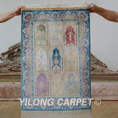 Yilong 2'x3' Persian silk carpet garden design handmade exquisite four season rugs (1169)