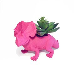 why do i love this so much? | Upcycled Pink Triceratops Planter  With Succulent by ThePDFfiles, $15.00