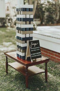 Lawn Games Wedding, Wedding Reception Games, Wedding Events, Wedding Backyard, Outdoor Wedding Games, Table Wedding, Jenga Wedding, Outdoor Jenga, Rustic Wedding Games