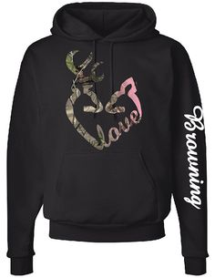 Browning Love Logo, Browning Down Sleeve, Camo Design, Heavyweight Hoodie