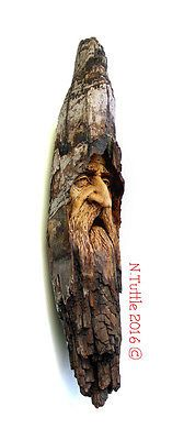 ORIGINAL WOOD SPIRIT CARVING WOEFUL WIZARD MELANCHOLIC SORCERER ELF NANCY TUTTLE