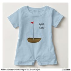 Kids Sailboat - Baby Romper  http://www.zazzle.com/artzdizigns?rf=238365382999242687 #babyromper #toysailboat #littlesailor #zazzle