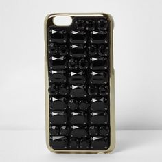 River Island Skinny Dip black jewel iPhone 7 case (66 BAM) ❤ liked on Polyvore featuring accessories, tech accessories, black, phone cases / accessories, women and river island