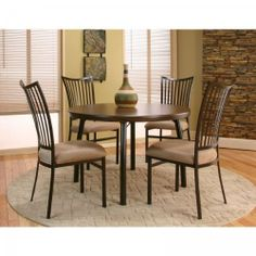 """Bellevue 5pc Round Dining Set (Walnut / Java) (See Description) by Cramco. $540.00. This item ships common carrier.. Size: See Description. Includes Dining Room Table and 4 Dining Chairs. Color: Walnut / Java. Table Measures: 30""""H x 45""""W x 45""""D. The Bellevue 5pc Round Dining Set in Walnut is a modern and sophisticated option for your dining space. This dining furniture set is ideal for homes with small dining rooms or eat-in kitchens. Includes Dining Table and 4 Chairs Table..."""