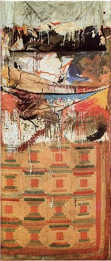 "Robert Rauschenberg, ""Bed,"" 1955 (ready made like Duchamp, thrown paint like Pollack)"