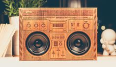 "FREE SHIPPING WORLDWIDE ON ALL BOOMBOXES! Designed by: Jake Mize, a designer, basketball legend, and founder of The Wooden Boombox. - Dribbble Inspiration: ""This classic boombox tribute is the design"
