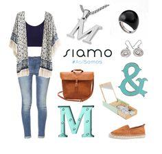 Vaqueros pitillo y un kimono en tonos azules, combinado con alpargatas y bolso marrón ¡Nos encanta como quedan con nuestras letras de plata! #Look #getthelook {www.siamo.es}