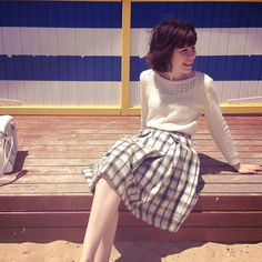 Sushi G. - Brighton Beach | cream lace pullover sweater + bnw plaid knee length skirt | spring summer style