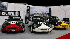 https://flic.kr/p/ks7AFi | Race Retro 2014 - Triumph Spitfires | Genuine ex-works ADU 1B (left) that raced at Le Mans alongside a pair of replica ex-works cars.