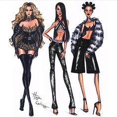 """The #Trinity - #Beyonce, #Aaliyah, #Rihanna"" (by the extremely talented @hayden_williams ) @aaliyah_haughton_official, @beyonce & @badgalriri 