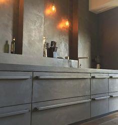 Concrete Kitchen, Double Vanity, Toilet, Kitchen Cabinets, Bathroom, Gamma, Home Decor, Beach Houses, Bing Images