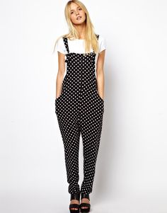 ASOS Overalls in Spot Print with Slouch Back Detail