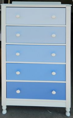 Beautiful Ombre Blue 5 Drawer Dresser by QuiltsbyCupcake on Etsy,