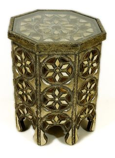Metal and Bone Octagon Shaped Glass Top Side Table