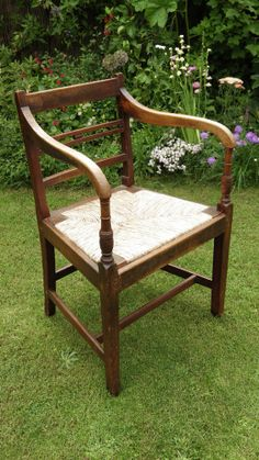 GEORGIAN Rush Seated ELM ARMCHAIR