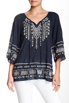 Embroidered Peasant Blouse by Monoreno on @HauteLook