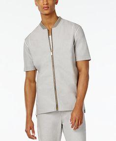 Sean John Men's Retroactive Zip-Front Short-Sleeve Shirt - Men - Macy's