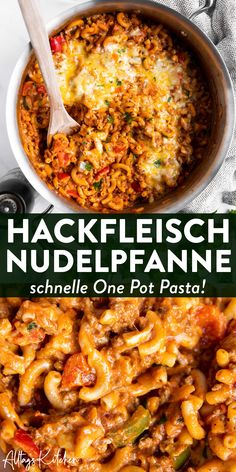 Einfache Nudelpfanne: Cremige One Pot Pasta mit Hackfleisch und Paprika One pot pasta with minced meat and bell pepper: aka the new pasta pan! This recipe makes a very quick and easy meal, perfect for a family and cooked in one pot! Weeknight Meals, Easy Meals, Pasta Recipes, Dinner Recipes, One Pot Recipes, Recipe Pasta, Noodle Recipes, Crockpot Recipes, Soup Recipes