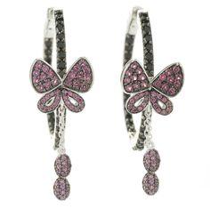 Sterling Silver Spinel and Rhodolite Butterfly Hoop Earrings