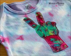 Applique Tie Dye Onesie - Peace Sign Hand - 9-12 months