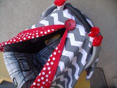Carseat Canopy Chevron Red Dot