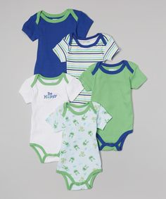 Look what I found on #zulily! Vitamins Baby Green & White 'Be Hoppy' Bodysuit Set - Infant by Vitamins Baby #zulilyfinds