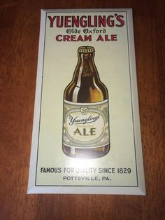 Yuengling S Tin Over Cardboard Beer Sign 12 X 6 5