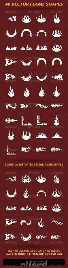 40 Vector Flame Shapes 2
