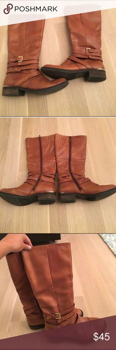 Steve Madden Albany Brown Leather Boots - Size 7.5 Lightly worn light brown (cognac) leather riding boots by Steve Madden. Size 7.5 Steve Madden Shoes