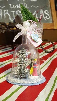 Handmade ornament made with plastic wine glasses from dollar store