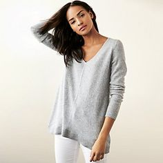 Cashmere Swing Jumper - Mid Grey Marl