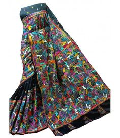 Black Multicolor Kantha Silk Stitch Saree