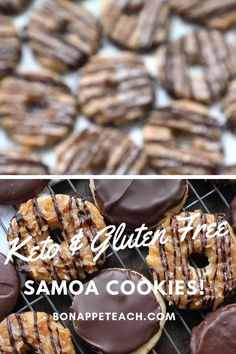 The best keto recreation on a Samoa girl scout cookie. These are gluten free, diabetic friendly, and only 2 net carbs! The best keto recreation on a Samoa girl scout cookie. These are gluten free, diabetic friendly, and only 2 net carbs! Keto Cookies, Samoa Cookies, Gluten Free Cookies, Cookies Et Biscuits, Chip Cookies, Diabetic Friendly Desserts, Diabetic Recipes, Low Carb Recipes, Diet Recipes