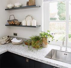 keuken in antraciet & graniet: Mandemakers Da Vinci Double Vanity, Floating Shelves, Bathroom, House, Eat, Kitchen, Country, Home Decor, Washroom