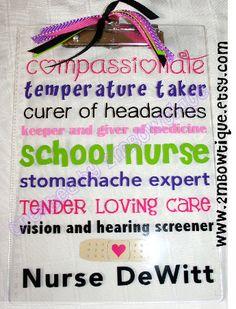 School Nurse Appreciation Clipboard. Free personalization. Great Gift Idea. on Etsy, $15.00
