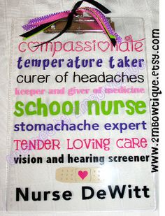 School Nurse Appreciation Clipboard. Free personalization. Great Gift Idea. on Etsy, $15.00