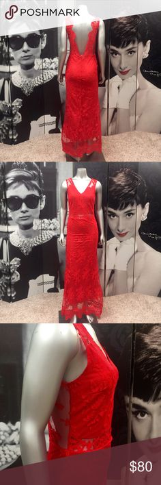 NEW! Red Lace Dress NEW!! Absolutely Stunning Red Lace Dress with Zippered Back & Built in Liner! See Through Only around the waist, shoulder & lower back!! This Dress is Stunning & Guaranteed to Wow Everyone!! Runs Small! Will fit a 2/3 Dresses Backless