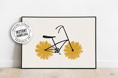 Flower Powered Bike Yellow Daisy Printable Poster Art | Etsy Printable Art, Printables, Power Bike, International Paper Sizes, Home Decor Styles, Flower Power, Daisy, Art Prints, Retro