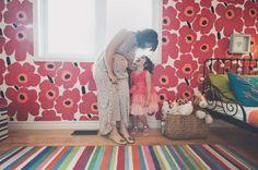 Mom hand-painted Marimekko Unikko on her daughter's bedroom wall- one lucky little girl!