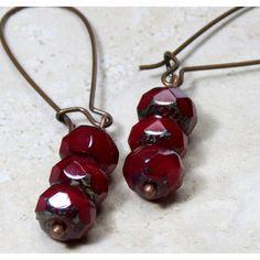 Deep Red Czech Glass Dangle Earrings, Glass Bead Earrings, Dark Red... ($20) ❤ liked on Polyvore featuring jewelry, earrings, bohemian style earrings, bohemian earrings, boho chic jewelry, earring jewelry and glass bead earrings