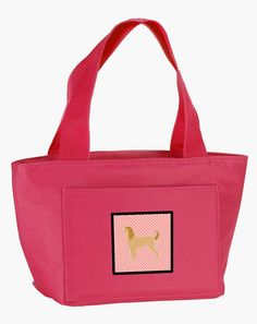 Afghan Hound Checkerboard Pink Lunch Bag BB3606PK-8808