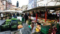 Shop for produce in the piazza, Campo de Fiori in Rome.