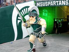 Sparty takes the field in his new armor Aug 29, 2014 vs Jacksonville State