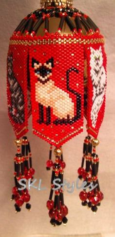 Trio of Cats  woven Delica bead Ornament Cover by SKLstyles, $40.00