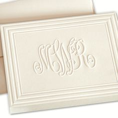 Classic Frame Monogram Folded Note Card by Embossed Graphics -  Now at Occasions by the Christmas Store in Tyler, Texas!
