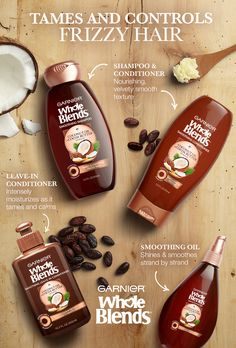 Frizzy hair? Try Garnier's New Whole Blends Smoothing Haircare. It's paraben-free and blooms with the essence of Coconut Oil and Cocoa Butter extracts. The Smoothing Shampoo and Conditioner provide nourishing moisture. The luxurious Leave-in Conditioner tames unwanted flyaways. And for deeply nourishing shine that lasts even in high humidity, there's instantly absorbing Smoothing Oil. Explore the entire Smoothing Haircare System to learn more about taming and controlling your frizzy hair.