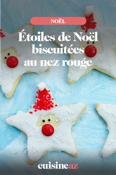 Le glaçage de ces biscuits de Noël en forme d'étoiles rappelle le père Noël. #recette#cuisine#biscuits#patisserie #enfant#noel#fete#findannee #fetesdefindannee Nouvel An, Macaron, Muffins, Sugar, Cookies, Desserts, Cooking Recipes, Red Candy, Sheet Pan