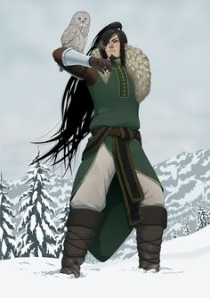 Long haired male fantasy character with one arm and a white owl companion. Heidge by doubleleaf.deviantart.com on @DeviantArt